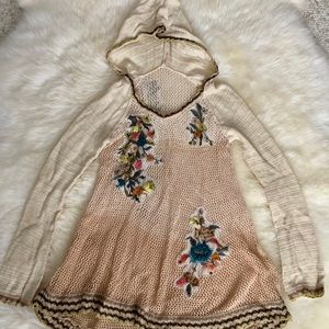 Free people hooded sweater with flower pattens